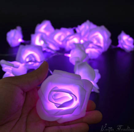 Светодиодная гирлянда пурпурные Розы 2м 20LED на батарейках АА, фото 2
