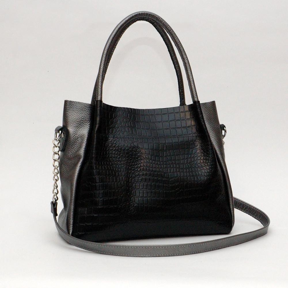 Женская сумка кожаная 33 черный кайман/нікель 013301-0212-01