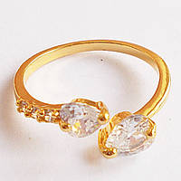 """Кольцо с кристаллами """"Два сердца"""" под золото. Размер регулируется., фото 1"""