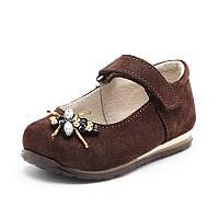Туфли детские для девочки коричневого цвета из натуральной кожи сатин с украшением, фото 1