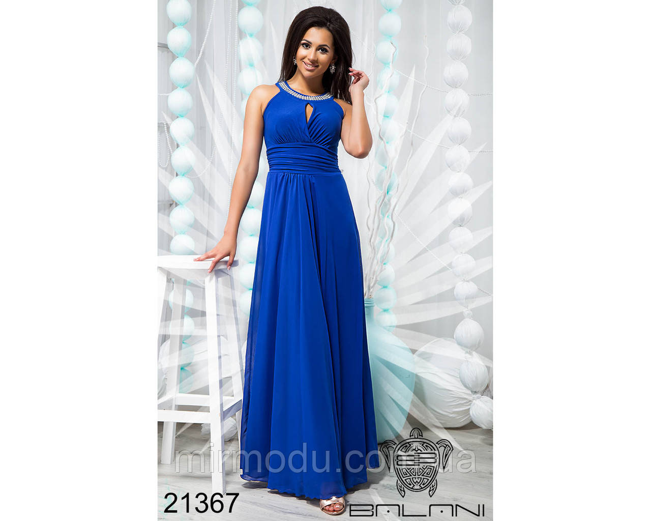 Элегантное вечернее платье в пол - 21367 размер ун 42-46 (бн)