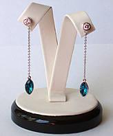 Неотразимые Серьги с кристаллами Swarovski, покрытие родий. Кристаллы синего цвета СКИДКА -19% Спеши!