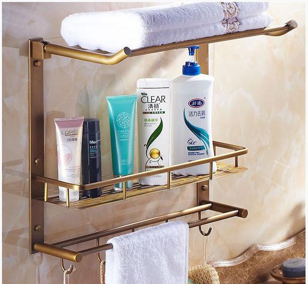 Полочка-вешалка в ванную комнату бронзовая 6-016