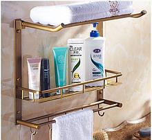 Поличка-вішалка у ванну кімнату бронзова 6-016