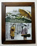 Деревянная фоторамка 20х15см,  ширина профиля 20мм, с видимой структурой, орех, фото 1