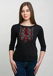 Вишита жіноча футболка на чорному трикотажі з довгим рукавом