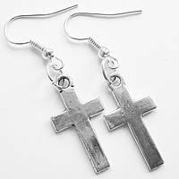 """Серьги """"Кресты"""" под серебро. Ювелирный сплав., фото 1"""
