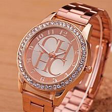 Роскошные часы CH сталь розовое золото в кристалах