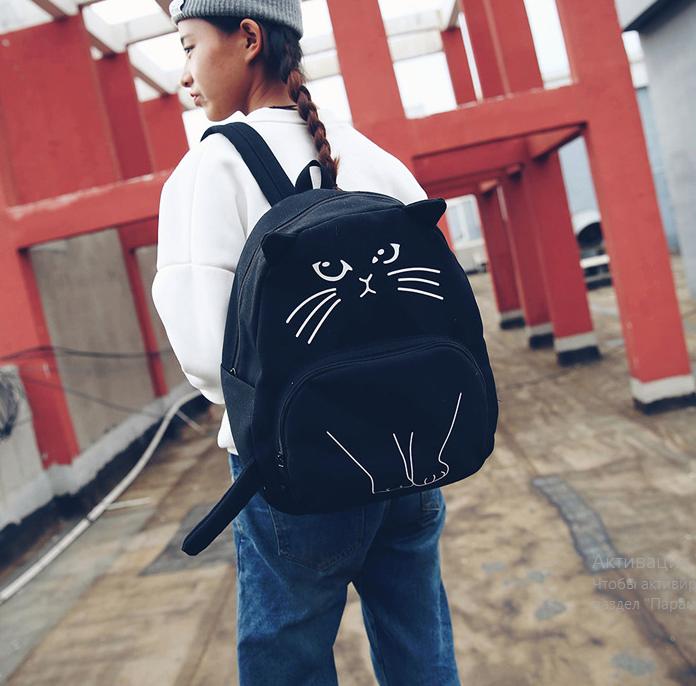 Рюкзак детский подростковый Кот с ушками и хвостиком Чёрный