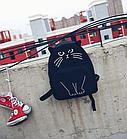 Рюкзак детский подростковый Кот с ушками и хвостиком Чёрный, фото 2