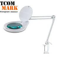 Лупа-лампа на струбцине, светодиодная подсветка, 3-х кратное увеличение, диам.-180мм