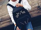 Рюкзак детский подростковый Кот с ушками и хвостиком Чёрный, фото 3