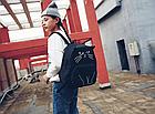 Рюкзак детский подростковый Кот с ушками и хвостиком Чёрный, фото 4