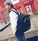 Рюкзак детский подростковый Кот с ушками и хвостиком Чёрный, фото 5