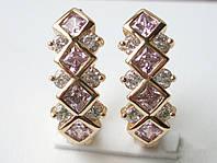 Оригинальные Серьги с розовыми камнями фианит СКИДКА -25% Будь этим летом неотразима!
