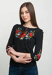Летняя женская вышитая футболка с рукавом