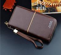 Мужское классическое портмоне с бежевым прошивом ( кошелек бумажник )