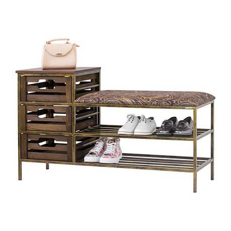 Банкетка 07 с ящиками и полками для обуви из кованого металла, фото 2