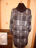 Платье в клетку  ХОМУТ коричневое 608, фото 1