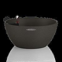 Вазон с кашпо и гидросистемой Cubeto Color 40 графитовый черный