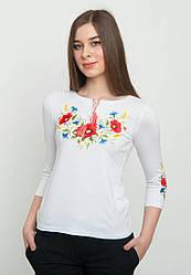 Женская белая футболка с вышивкой длинный рукав