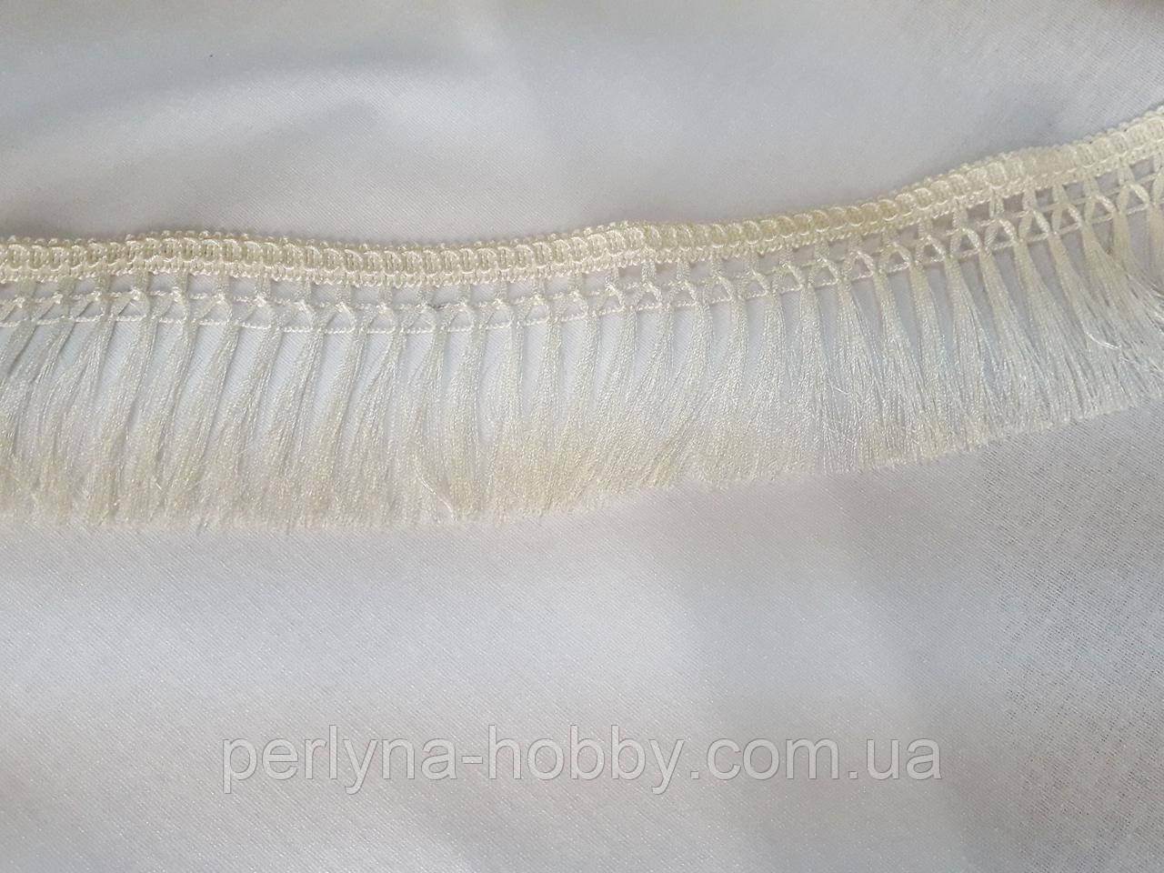 Бахрома декоративна шовкова різана  9см, кремова з ажурним краєм