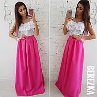 aab23d3caf4 Костюм женский топ c воланами и пышная юбка в пол разные цвета 6Kb897