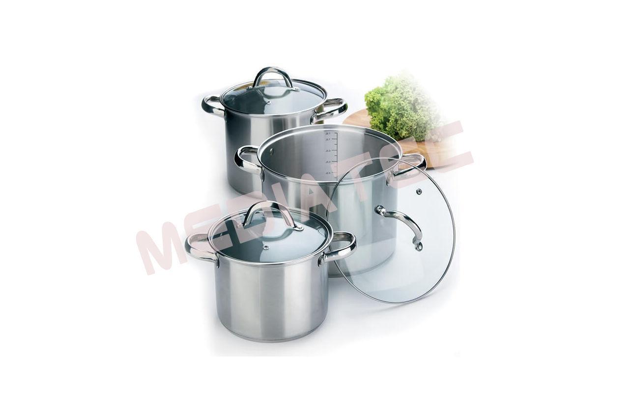 Набор посуды нержавеющий Maestro - 3,5 х 4,5 х 8 л, (3 шт.) [MR-2023]