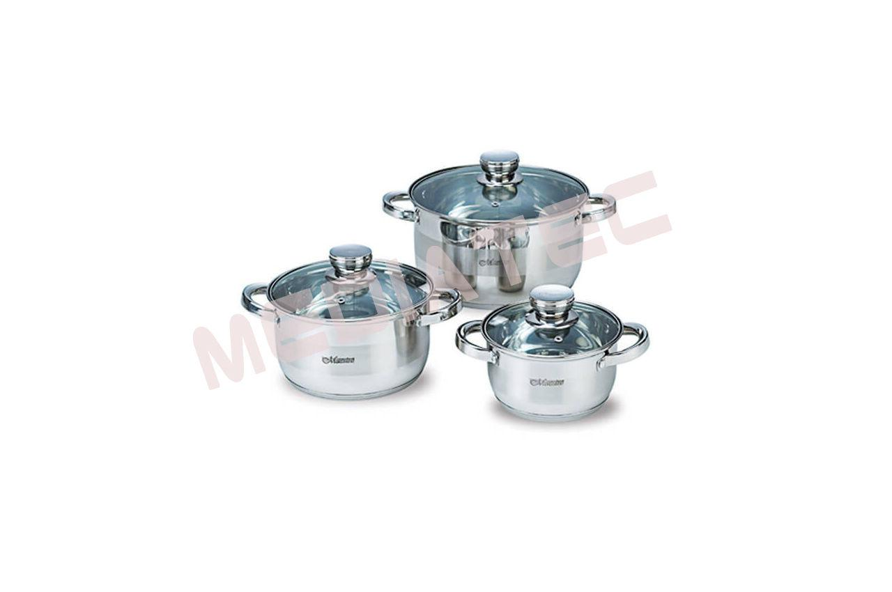 Набор посуды нержавеющий Maestro - 1,5 х 3 х 5 л, (3 шт.) [MR-2220-6L]