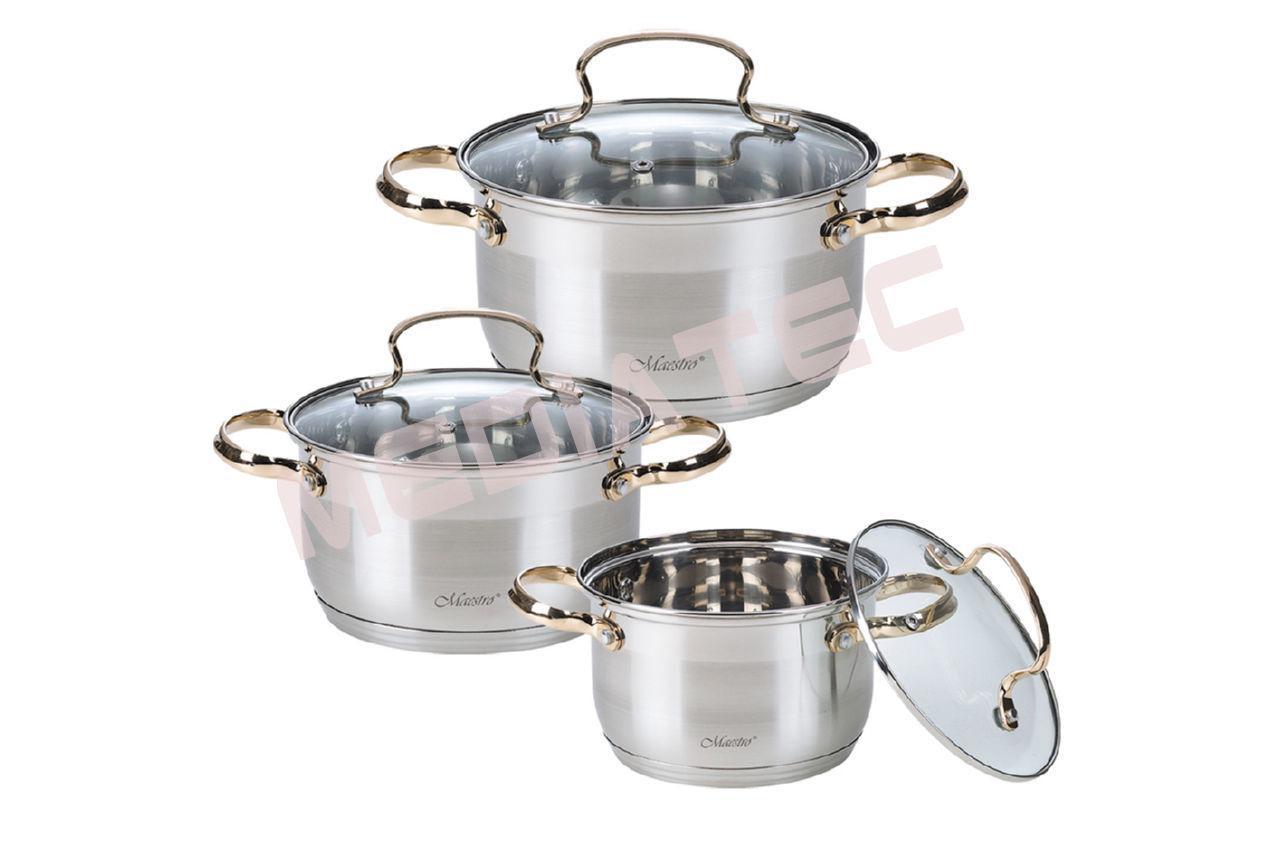 Набор посуды нержавеющий Maestro - 2 х 3 х 4 л, (3 шт.) [MR-3516-6M]
