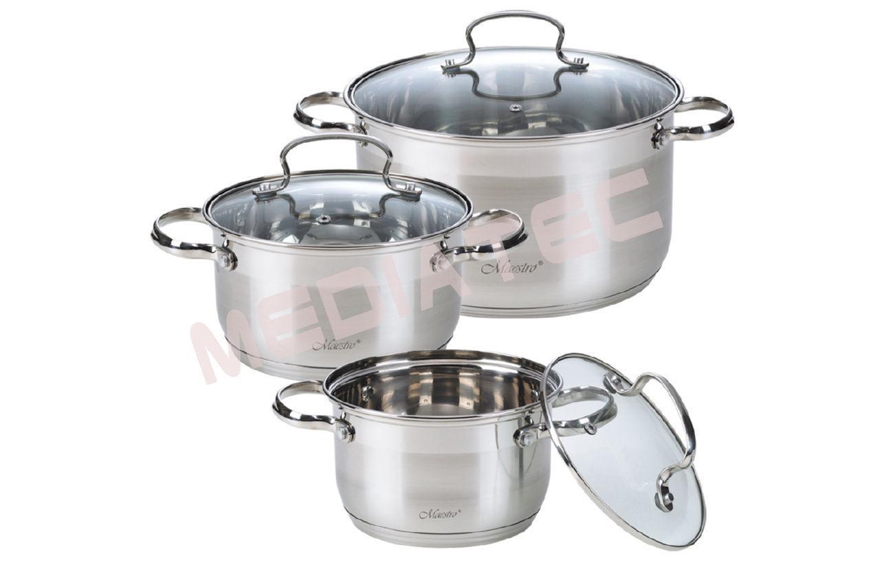 Набор посуды нержавеющий Maestro - 2 х 3 х 4 л, (3 шт.) [MR-3520-6M]