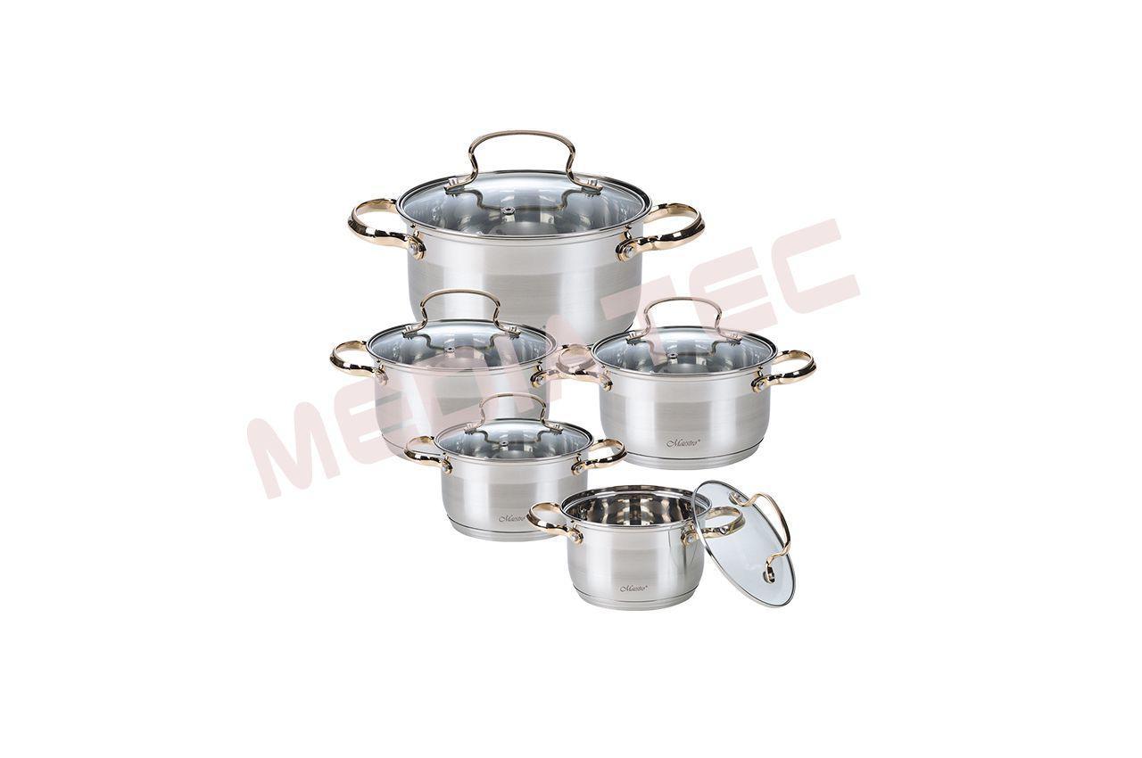Набор посуды нержавеющий Maestro - 1,5 x 2,5 x 4 x 5 x 6 л (5 шт.) [MR-3516-10]