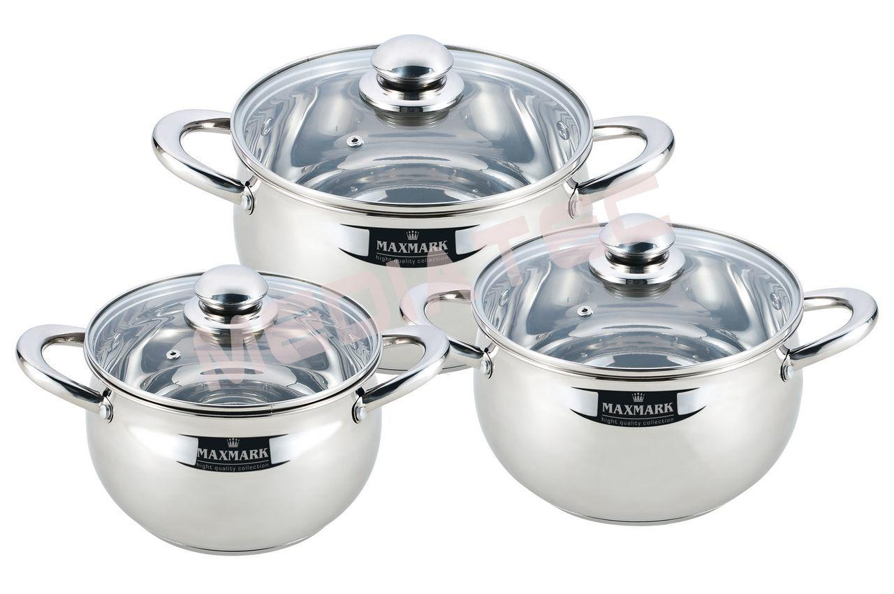 Набор посуды нержавеющий Maxmark - 3 шт (3  x 4 x 5 л)