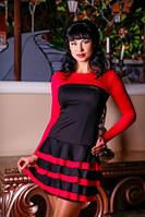 Платье красное юбка рюш красивое по фигуре молодежное, нарядное, повседневное