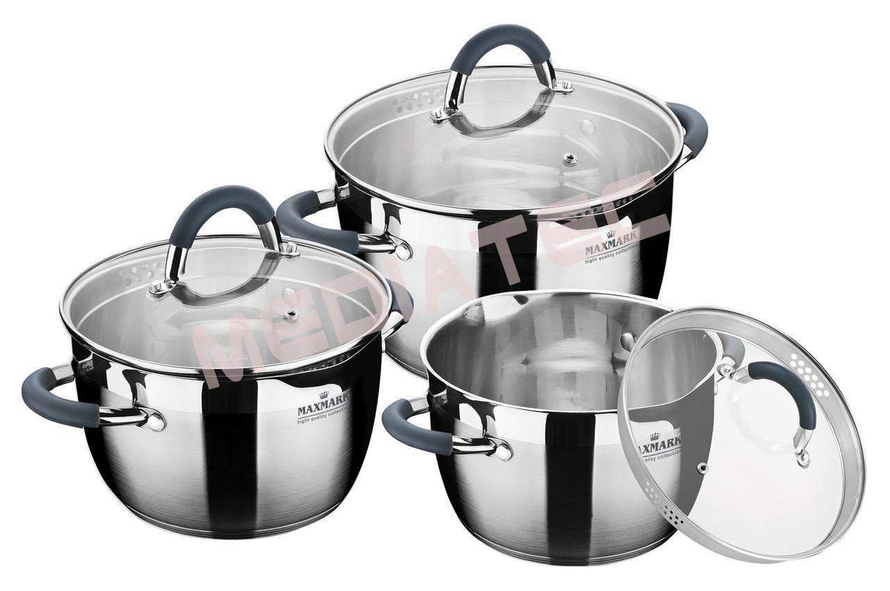 Набор посуды нержавеющий Maxmark - 3 шт. (3  x 4 x 5 л)