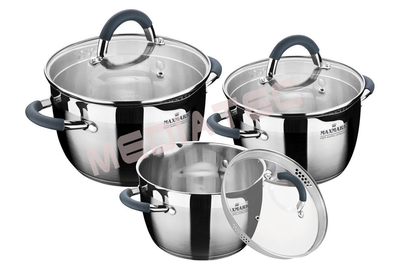 Набор посуды нержавеющий Maxmark - 3 шт. (1,5  x 2 x 4 л)