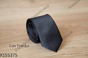 """Галстук мужской однотонный узкий (5,5 см, черный) Lan Franko """"Remen"""" LM-638"""