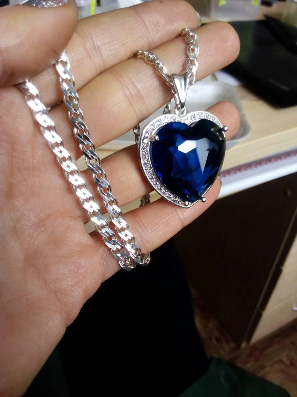 """Кулон серебряный с сапфиром """"Сердце океана"""" - легендарные украшения для Вашего стиля и настроения"""