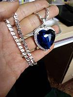 """Кулон серебряный с сапфиром """"Сердце океана"""" - легендарные украшения для Вашего стиля и настроения, фото 1"""