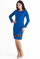 Платье женское нарядно повседневное ярко синего цвета  полуприлегающего силуэта с декором по низу, рукав 3/4