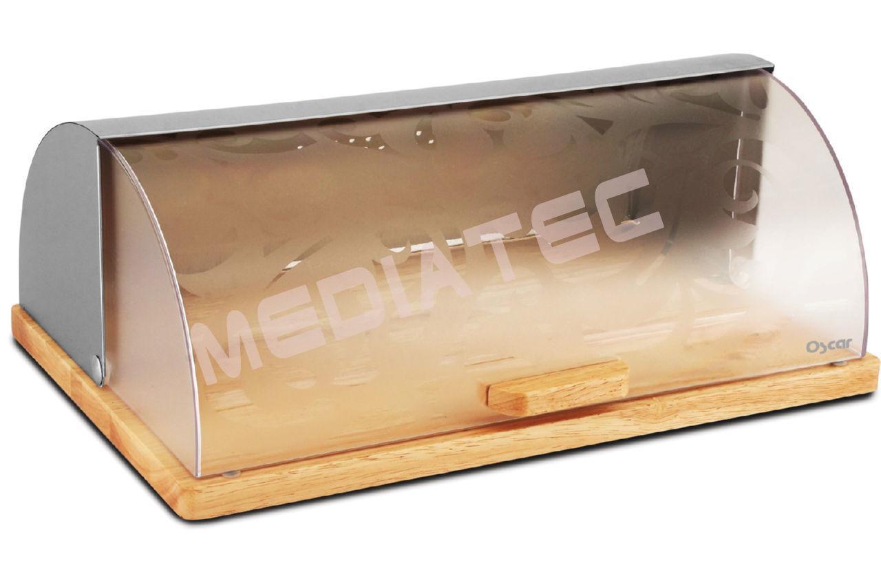 Хлебница Oscar - 380 х 255 х 145 мм, крышка матовый пластик