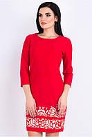 Платье женское нарядно-повседневное красного цвета украшено аппликацией, платье молодежное красивое