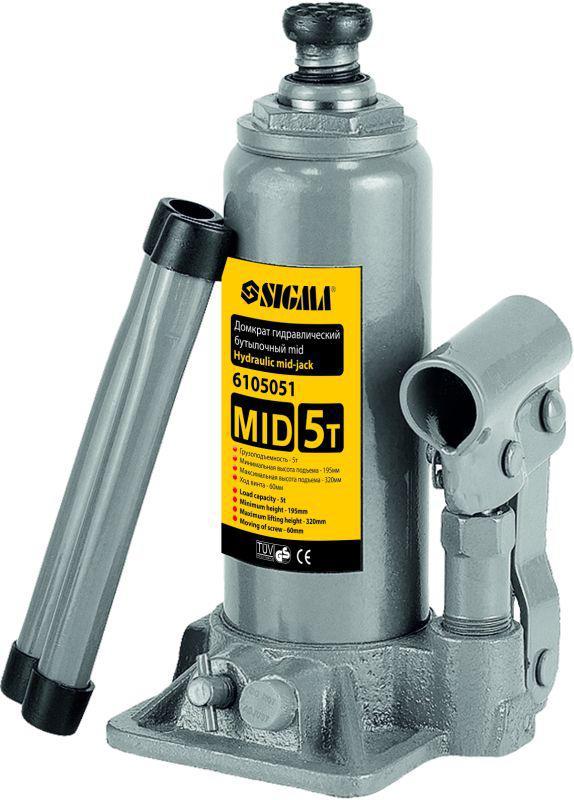 Домкрат гидравлический бутылочный mid 5т H 185-355мм sigma 6105051