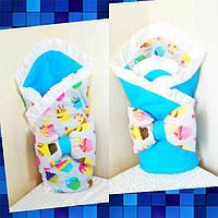 Двухсторонний Конверт одеяло 2 в 1 на выписку летнее для новорожденного в роддом польский хлопок