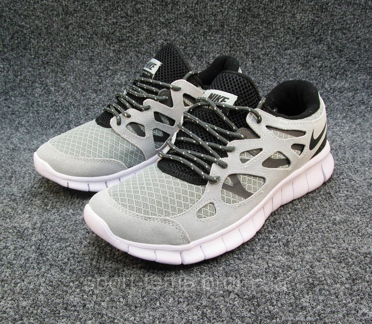 89da0182 Кроссовки мужские Nike Free Run 2+ текстиль светло-серые (найк фри ран)