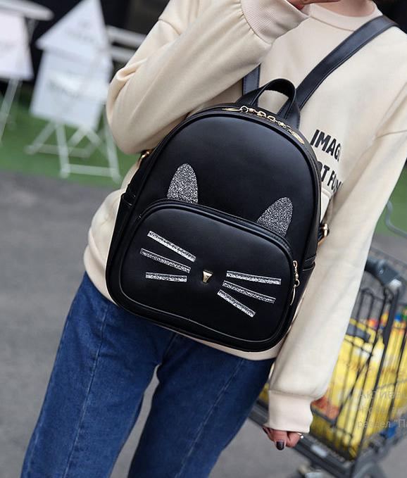 рюкзак чёрный Кот с ушками