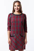 Платье женское красная клетка, платье нарядное маленького размера, платье красивое, фото 1