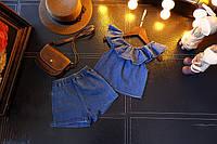 Модный и стильный джинсовый комплект для девочки Шорты + Топ Джинс