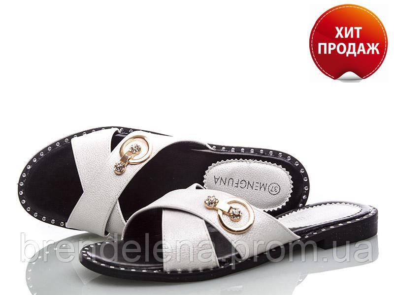Жіночі білі шикарні шльопанці (р36-37)