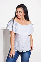 Женская блузка с воланом и вышивкой Большого размера
